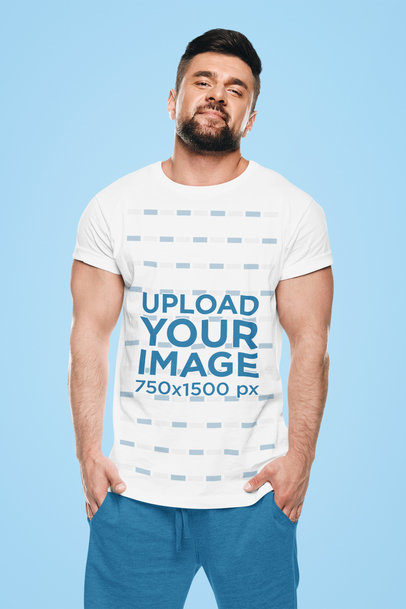 Round Neck T-Shirt Mockup of a Bearded Man at a Studio 44549-r-el2