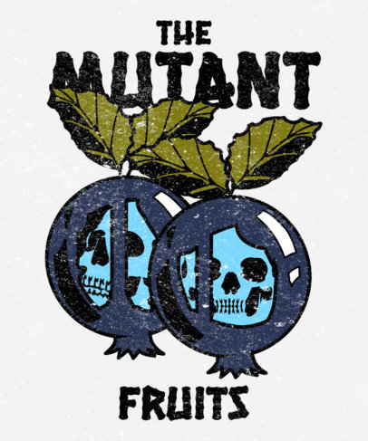 T-Shirt Design Template for Heavy Metal Fans Featuring Mutant Fruits 3127f