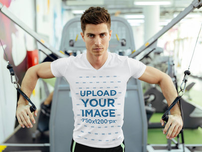 V-Neck T-Shirt Mockup of a Man Training Chest at the Gym 44516-r-el2