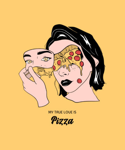 Surreal T-Shirt Design Template with an Illustration of a Pizza-Faced Woman 3130a