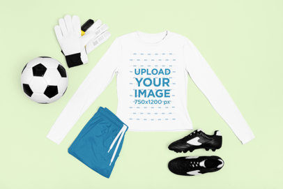 Long Sleeve Tee Mockup Featuring the Outfit of a Soccer Goalie m323