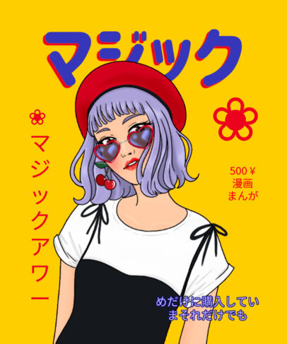 Anime-Inspired T-Shirt Design Maker Featuring a Fashion Magazine Cover 3119a