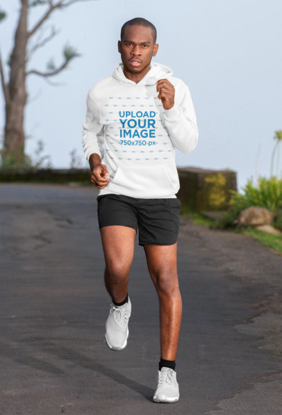 Pullover Hoodie Mockup of a Man Going for a Run in the City 44563-r-el2