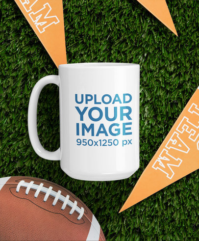 15 oz Coffee Mug Mockup Featuring a Football Setting m350