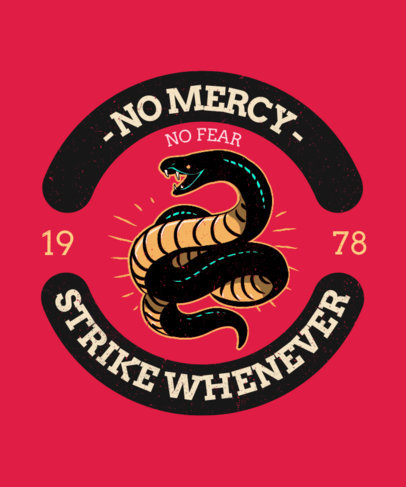 T-Shirt Design Template for a Biker's Club with a Snake Graphic and a Badge Layout 3132e