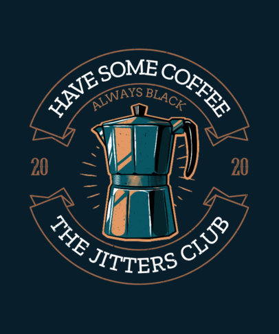 T-Shirt Design Creator Featuring a Badge Layout and a Coffee Maker Icon 3132C