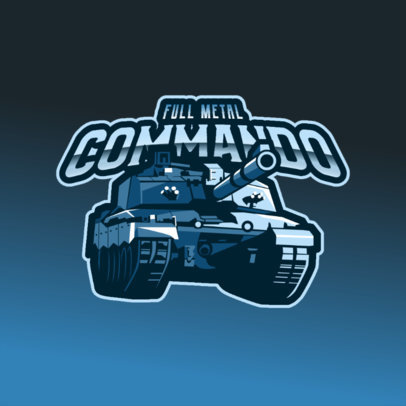 Gaming Logo Template Featuring a War Tank Graphic 3819b