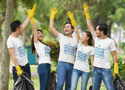 T-Shirt Mockup Featuring a Group of Joyful Friends Celebrating After Cleaning a Park 43263-r-el2