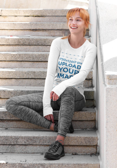 Long-Sleeve Tee Mockup of a Red Haired Woman Sitting on the Stairs 43879-r-el2