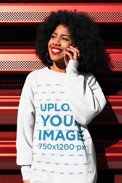Oversized Sweatshirt Mockup of a Woman Talking on the Phone 44677-r-el2
