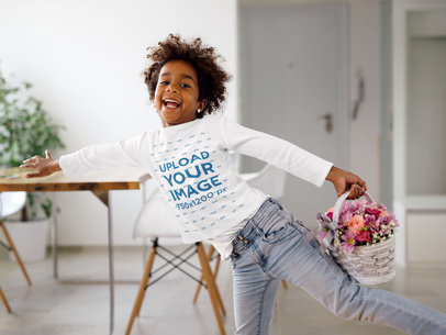 Long Sleeve Tee Mockup of a Happy Curly-Haired Girl Holding a Flower Basket 43259-r-el2