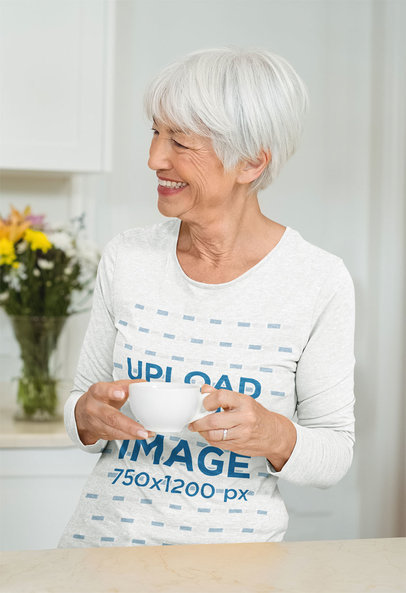 Long Sleeve Tee Mockup Featuring a Smiling Elderly Lady with a Cup 41634-r-el2