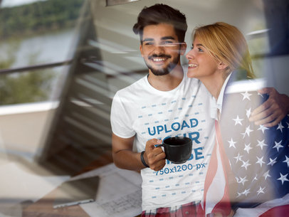 Patriotic T-Shirt Mockup of a Man with His Girlfriend 42970-r-el2