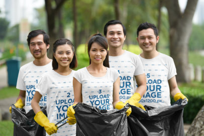 T-Shirt Mockup Featuring a Group of Friends Cleaning a Park 43262-r-el2