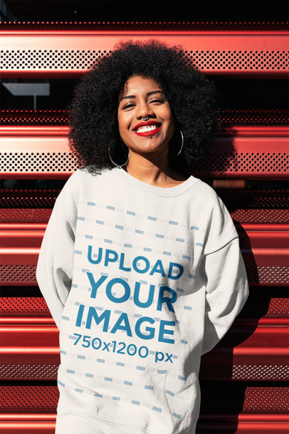 Oversized Crewneck Sweatshirt Mockup Featuring a Happy Woman With a Nose Piercing 44675-r-el2