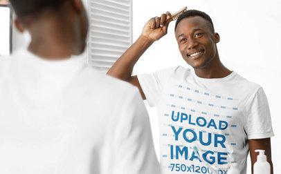 T-Shirt Mockup of a Happy Man Brushing His Hair 44664-r-el2