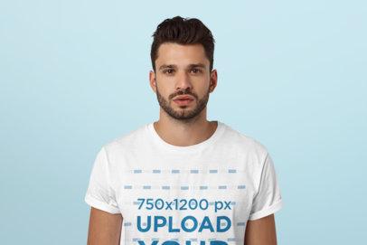 T-Shirt Mockup Featuring a Bearded Man at a Studio 42582-r-el2