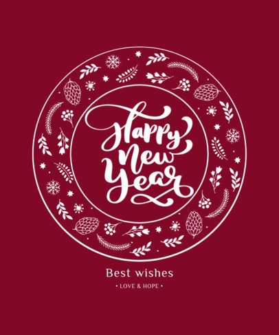 Ornamental T-Shirt Design Template Featuring a Happy New Year Text 3154b-el1