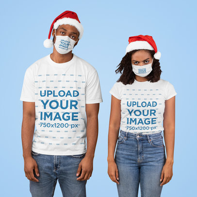 Face Mask and T-Shirt Mockup of a Couple Wearing Christmas Hats 44651-r-el2
