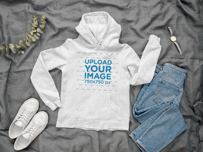 Mockup of a Heathered Hoodie Featuring a Basic Outfit 39710-r-el2