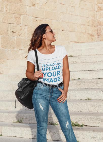 T-Shirt Mockup Featuring a Stylish Woman Posing 44772-r-el2