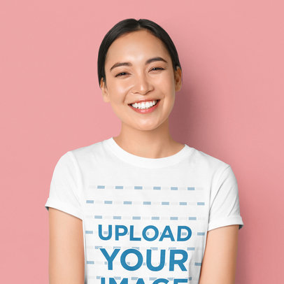 T-Shirt Mockup Featuring a Happy Woman in a Studio 42581-r-el2