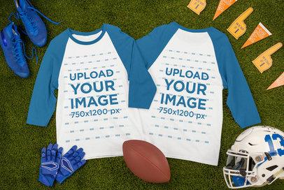 Mockup of Two Raglan T-Shirts Placed by Football Garments m328