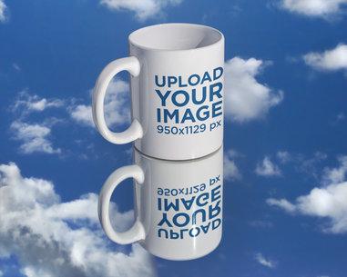 Mockup of an 11 oz Mug on a Sky-Reflecting Surface m596