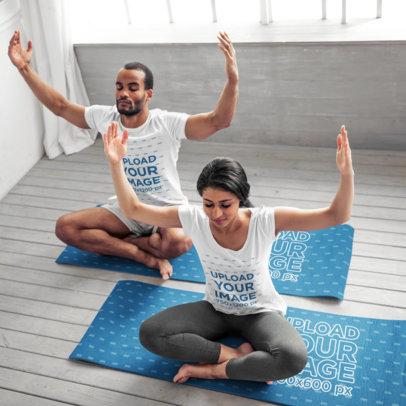 T-Shirt Mockup of a Couple Doing Meditating over Yoga Mats 44961-r-el2