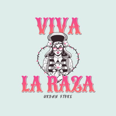 Illustrated Logo Template for a Clothing Brand Featuring a Chola  3840e