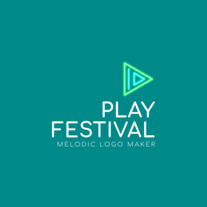 Logo Template for a Music Festival Featuring an Abstract Play Symbol 3832c