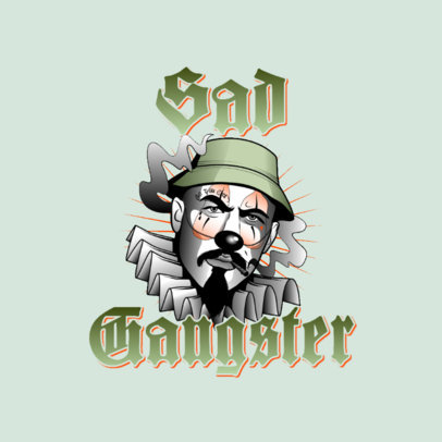 Logo Maker for a Clothing Brand Featuring a Gangster with a Clown Face 3840f