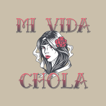 Logo Generator Featuring an Illustration of a Woman With a Chicano Style 3840l