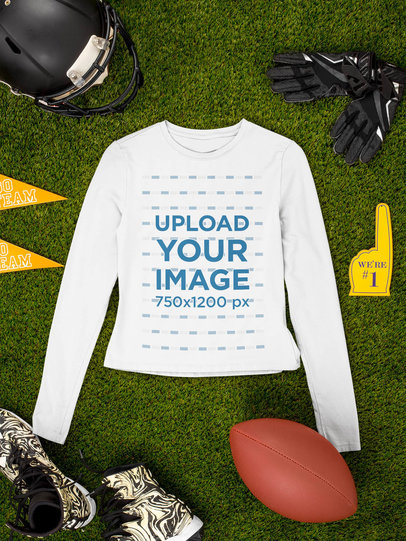 Mockup of a Long Sleeve Tee Flat Laid by Football Equipment m358