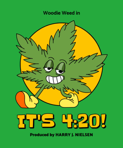 T-Shirt Design Creator Featuring a Cannabis Leaf Character 3130a