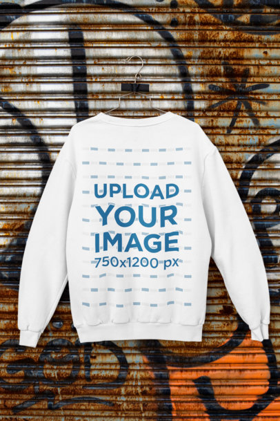 Mockup of a Crewneck Sweatshirt Taped to an Aluminum Door m451