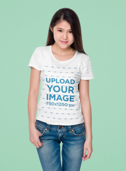 T-Shirt Mockup of a Young Long-Haired Woman at a Studio 44860-r-el2