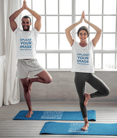 T-Shirt Mockup of a Smiling Couple Standing over Yoga Mats 44960-r-el2