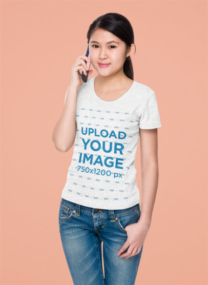 Studio T-Shirt Mockup of a Woman Talking on the Phone 44853-r-el2
