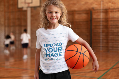 T-Shirt Mockup of a Happy Girl at Basketball Practice 44764-r-el2