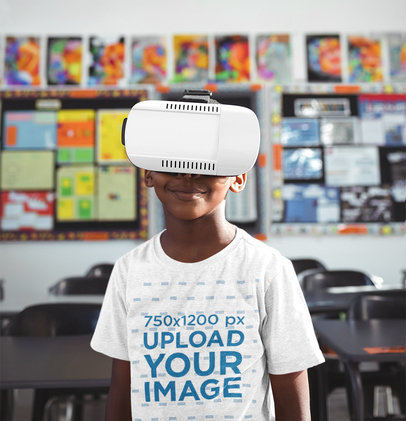 T-Shirt Mockup Featuring a Kid Using a VR Headset 44720-r-el2