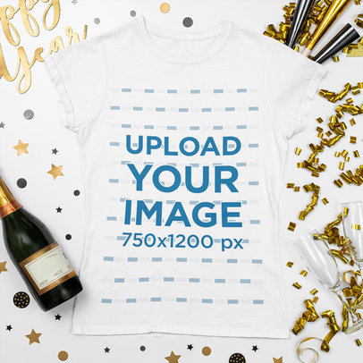 T-Shirt Mockup Featuring New Year Party Decorations m266