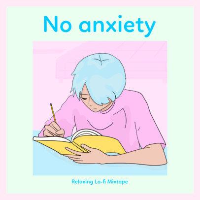 J-Pop Album Cover Creator with a Colorful Lo-Fi Anime Illustration 3141c