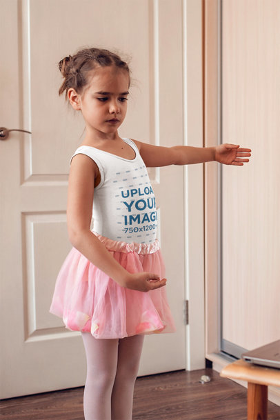 Tank Top Mockup of a Little Ballet Dancer in Her Room 45111-r-el2