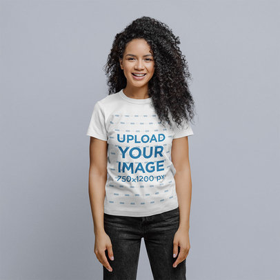 T-Shirt Mockup of a Happy Curly-Haired Woman in a Studio 44981-r-el2