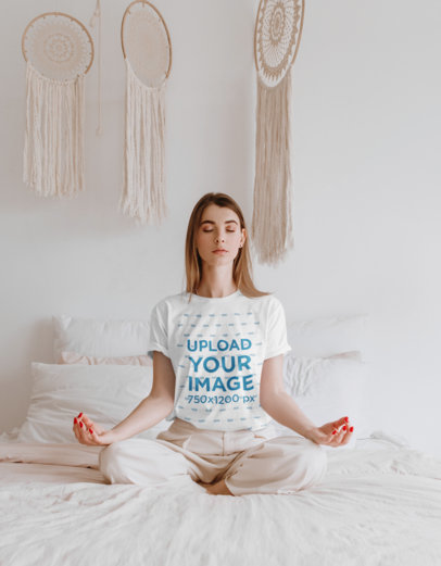 T-Shirt Mockup of a Woman Meditating in a White Bedroom 45048-r-el2