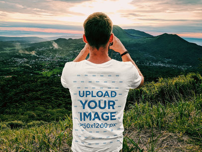 T-Shirt Mockup of a Man Taking a Picture of the Landscape 45090-r-el2