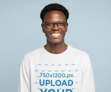 Long Sleeve Tee Mockup of a Happy Man With Glasses in a Studio 45065-r-el2