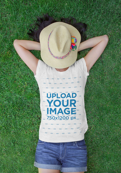 Heather T-Shirt Mockup Featuring a Woman Lying on the Grass 45045-r-el2