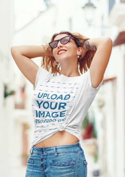 Mockup Featuring a Tattooed Woman Wearing a Knotted T-Shirt and Sunglasses 44748-r-el2